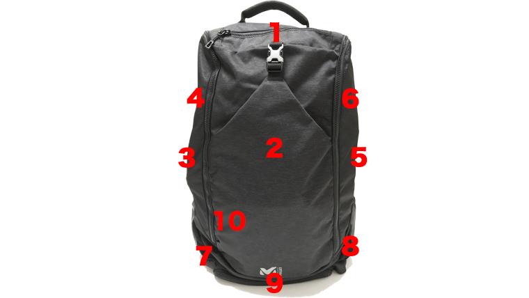MILLET(ミレー)のリュックEXP35表のポケットの数